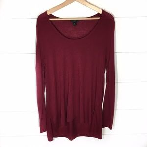 J. CREW High Low Tunic Top Blouse Maroon XL EUC